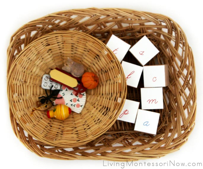 Baskets with Phonetic Objects and Letter Cubes
