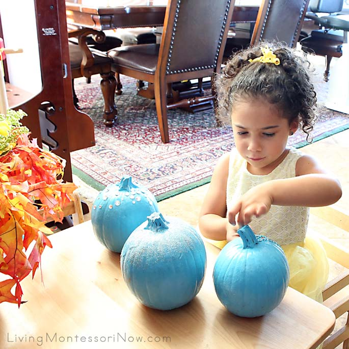 Decorating Pumpkins for Our Teal Pumpkin Project