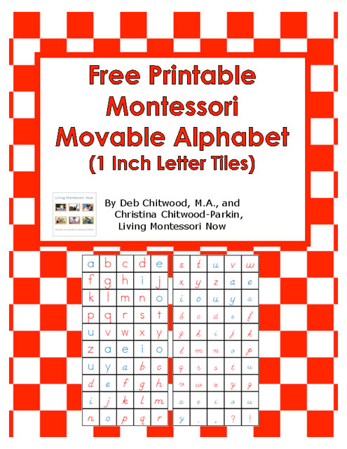 Free Printable Montessori Movable Alphabet (1 Inch Letter Tiles)