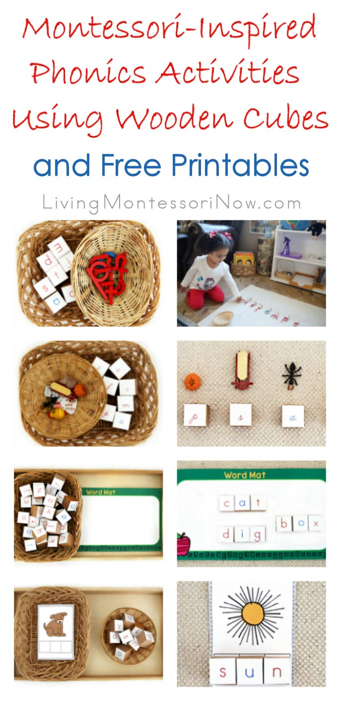 Montessori-Inspired Phonics Activities Using Wooden Cubes and Free Printables