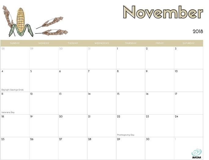 November 2018 Calendar from iMom