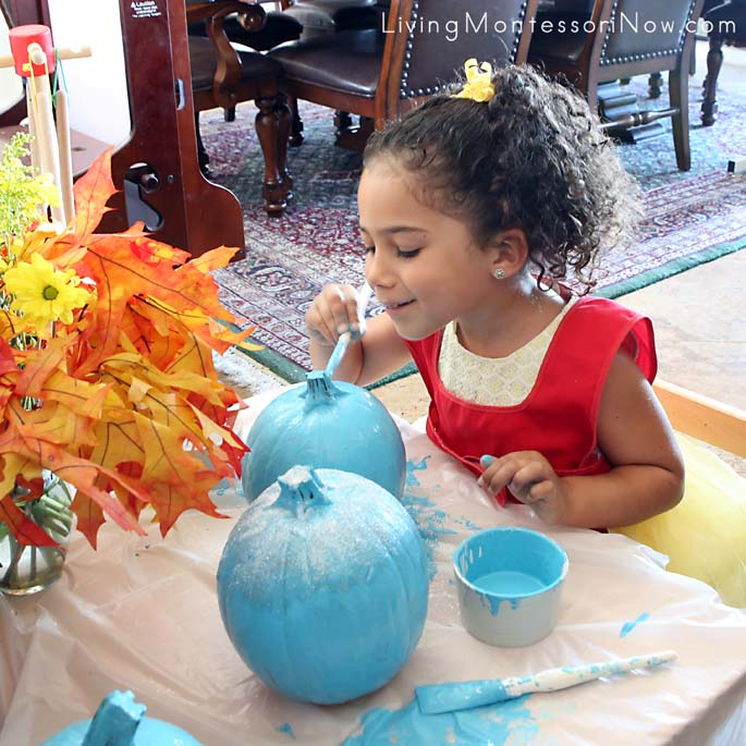 Painting Pumpkins for Our Teal Pumpkin Project