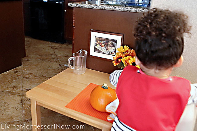 Pouring Water into Water Recycling Bucket after Pumpkin Scrubbing