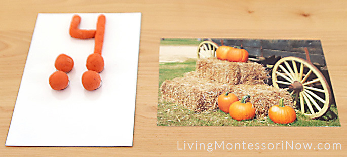 Pumpkin Playdough Numbers and Counters