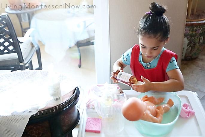 Adding Baby Wash to Doll Bathtub