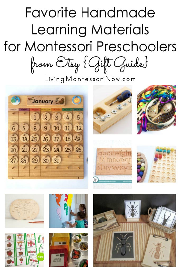 Favorite Handmade Learning Materials for Montessori Preschoolers from Etsy