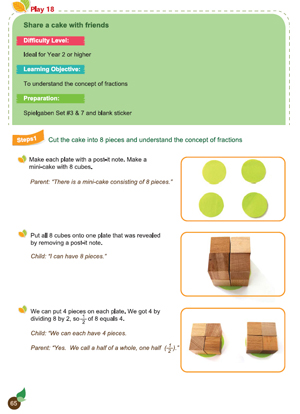 First Page of Share a Cake with Friends Fraction Activity from Spielgaben