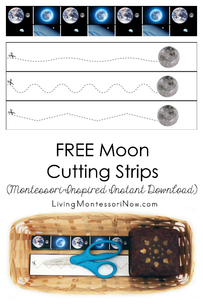 FREE Moon Cutting Strips (Montessori-Inspired Instant Download)