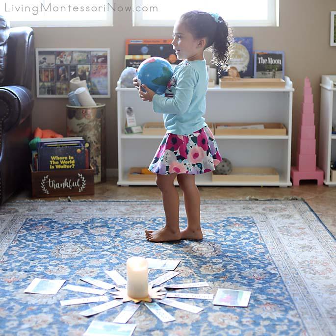 Going around the Sun in Her Montessori Birthday Celebration