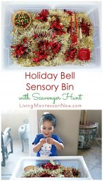 Holiday Bell Sensory Bin with Scavenger Hunt {Montessori Monday}