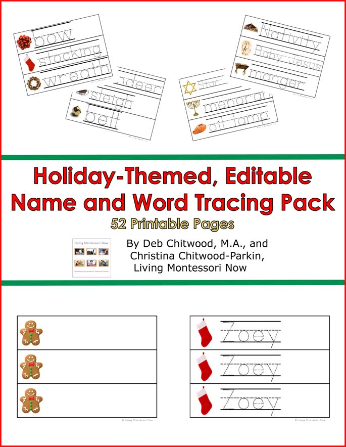 Holiday-Themed, Editable Name and Word Tracing Pack