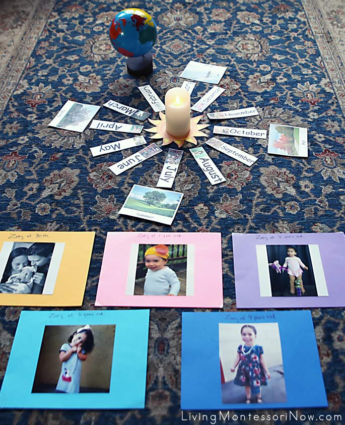 Layout for Montessori Celebration of Life Ceremony along with Photos for Birth to Age 4
