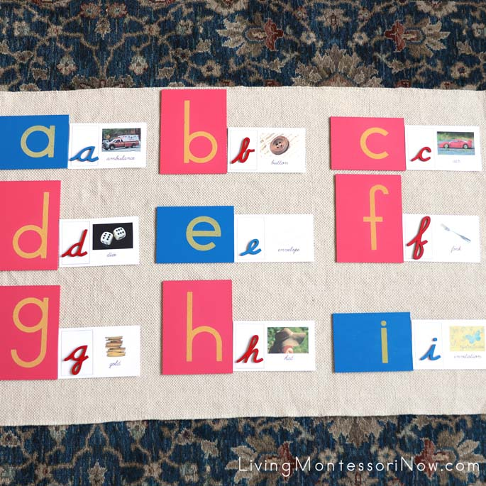 Matching Manuscript Sandpaper Letters with Cursive Picture-Word Cards and Cursive Movable Alphabet