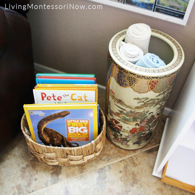 Montessori Book Basket and Rug Container