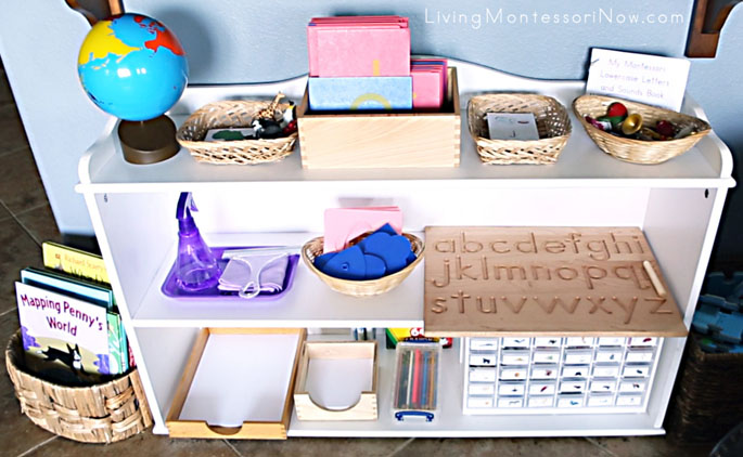 Montessori Practical Life, Language, and Cultural Shelves