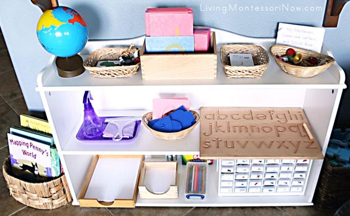 Montessori Practical Life, Language, and Cultural Shelves