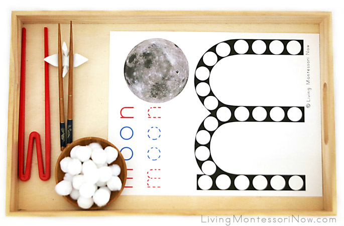 Moon Do-a-Dot Letter M Tray with Quicksticks, Chopsticks, and Pom Poms