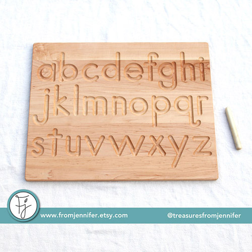 Printed Alphabet Wood Tracing Board - FromJennifer on Etsy
