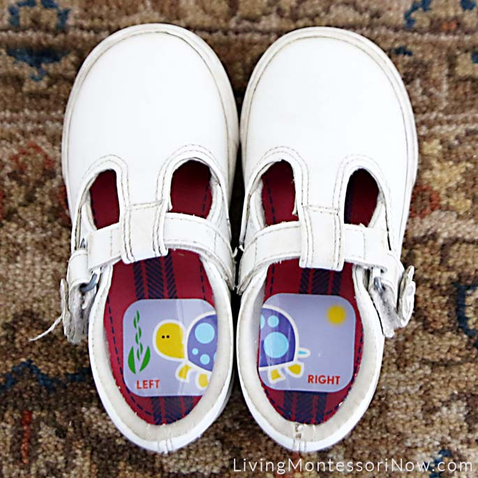 Toddler Shoes with Left and Right Turtle Stickers