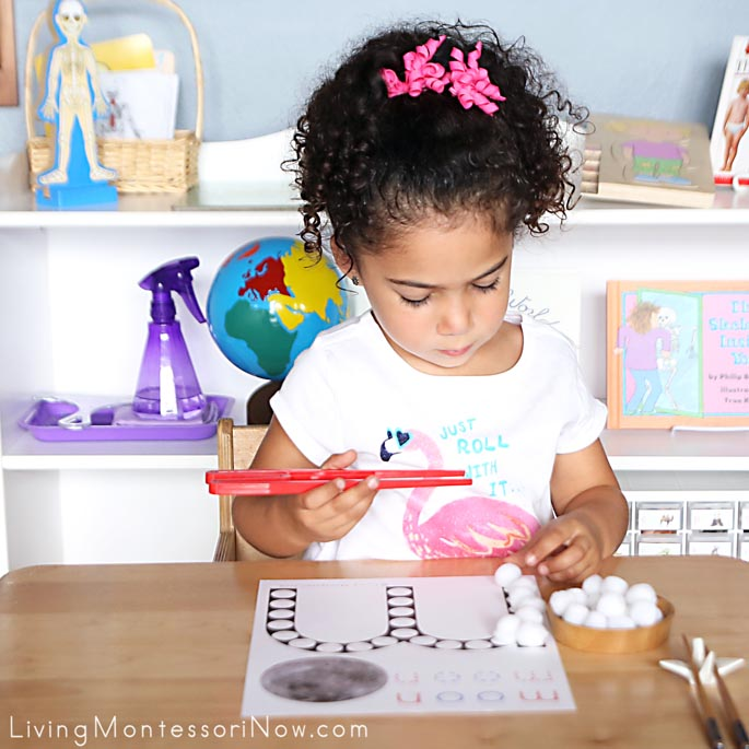"Using Quick Sticks to Transfer Pom Poms to ""M is for Moon"" Do-a-Dot Printable"