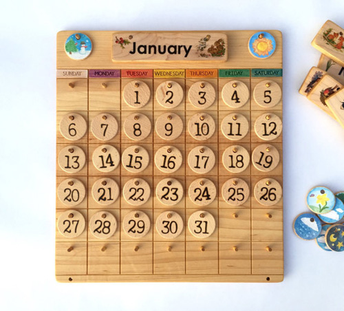Wooden Perpetual Calendar - FromJennifer on Etsy