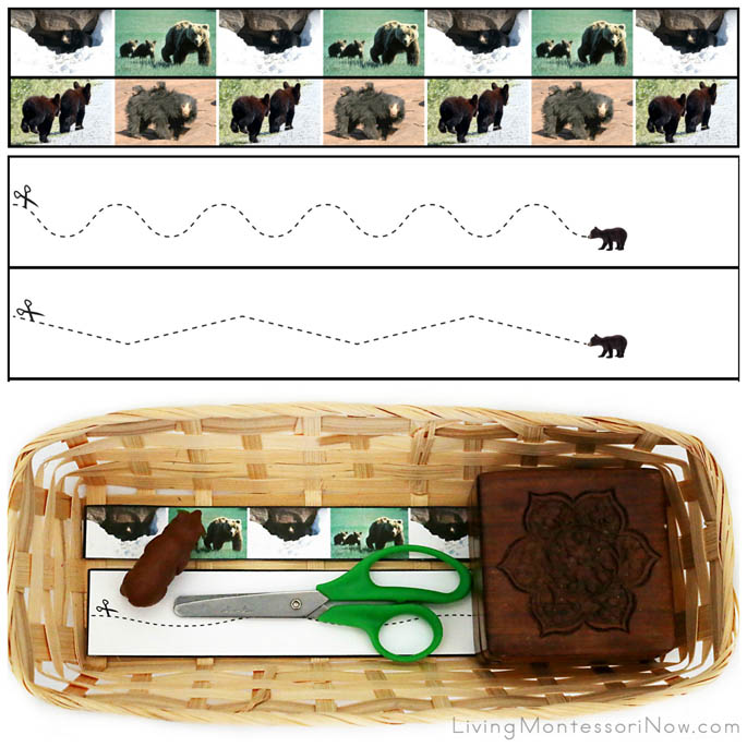 Bear Cutting Strips with Basket