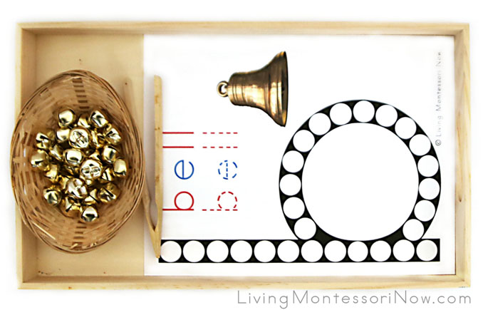 Bell Letter B Do-a-Dot Tray with Jingle Bell Transfer