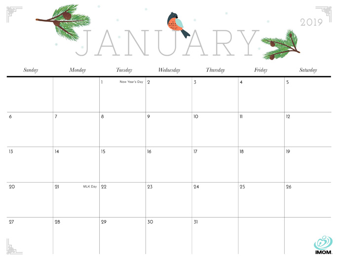 January 2019 Calendar from iMom