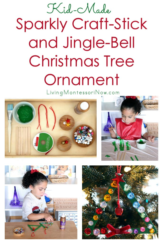 Kid-Made Sparkly Craft-Stick and Jingle-Bell Christmas Tree Ornament