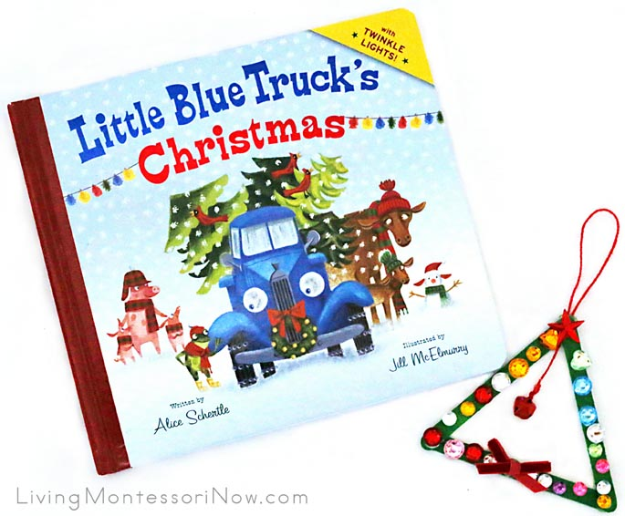 Little Blue Truck's Christmas with Sparkly Craft-Stick and Bell Christmas Tree Ornament