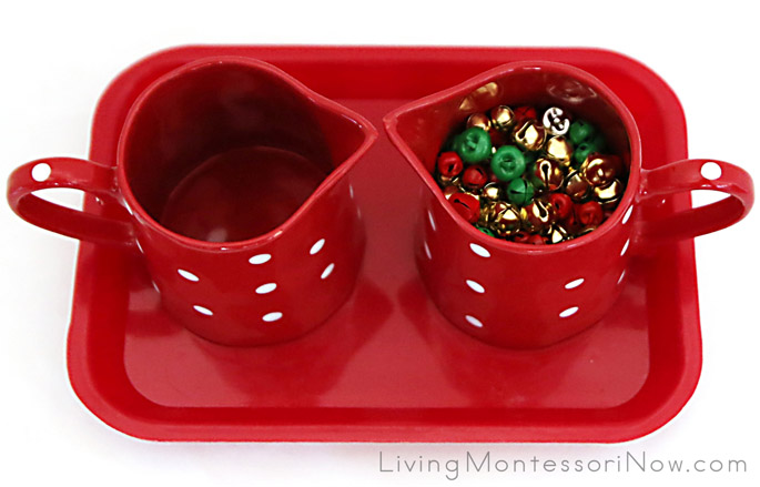 Montessori-Inspired Jingle Bell Pouring Activity