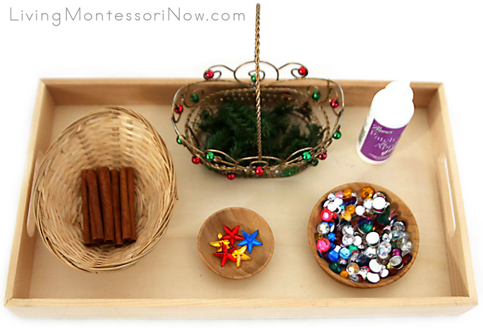 Montessori-Inspired Tray for Cinnamon Stick Tree Ornament