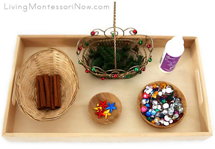 Montessori-Inspired Tray for Cinnamon Stick Tree Ornament