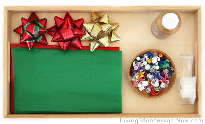 Montessori-Inspired Tray for DIY Sparkly Wrapping Paper