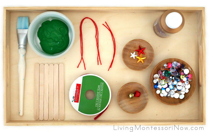 Montessori-Inspired Tray for Sparkly Craft-Stick and Jingle-Bell Christmas Tree Ornament