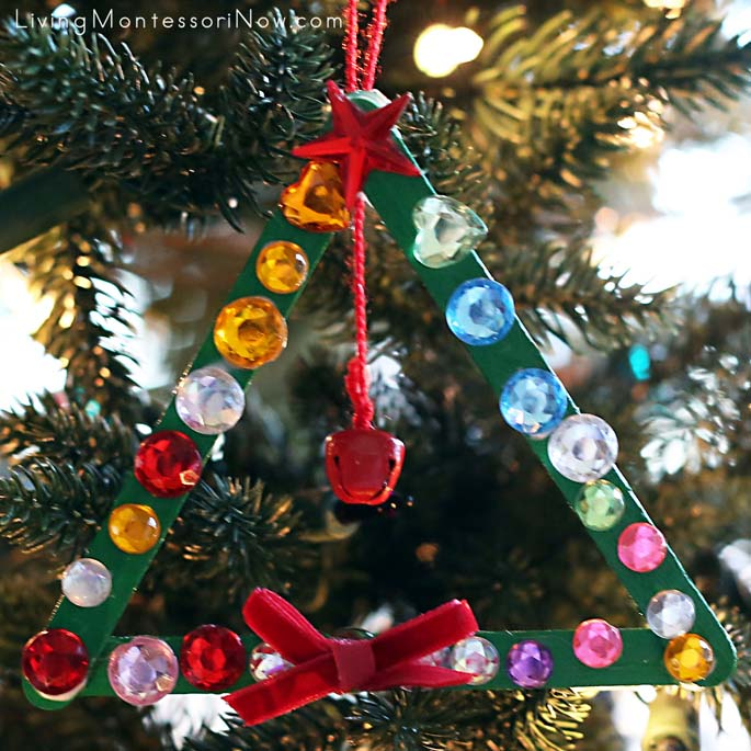 Sparkly Craft-Stick and Jingle-Bell Christmas Tree Ornament