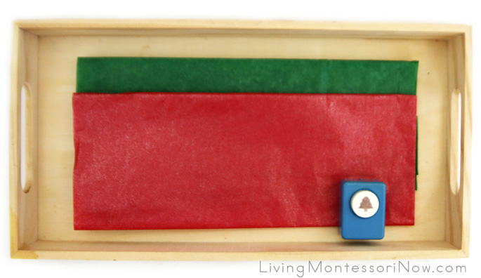 Wrapping Paper Tray with Tissue Paper and Holiday Craft Punch