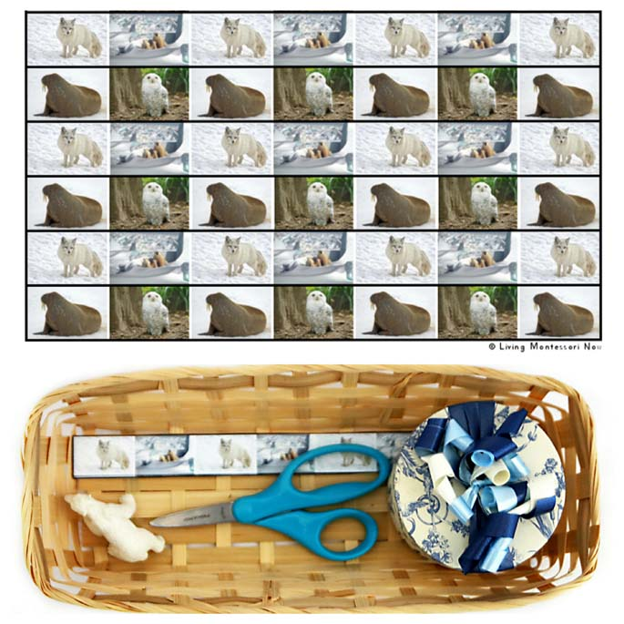 Arctic Animal Cutting Strips with Basket