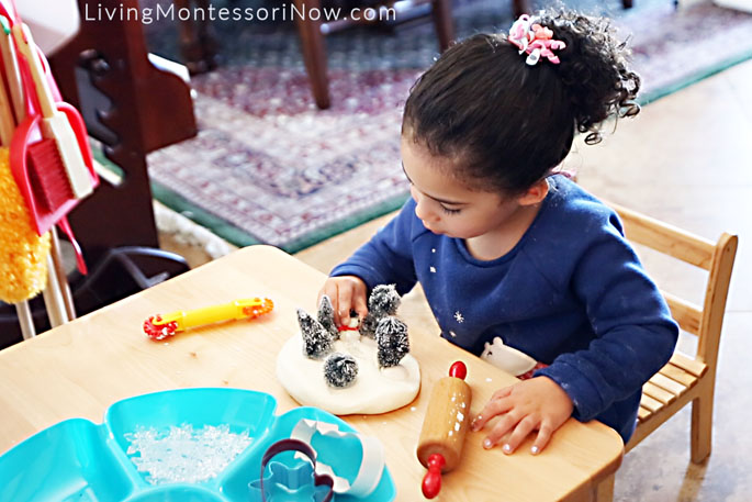 Creating a Winter Scene with Playdough