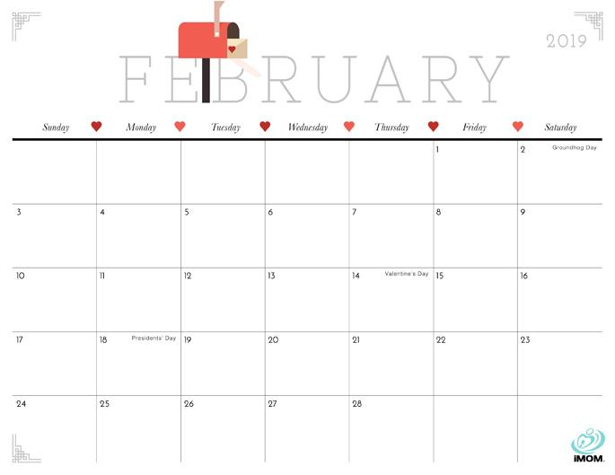 February 2019 Calendar from iMom