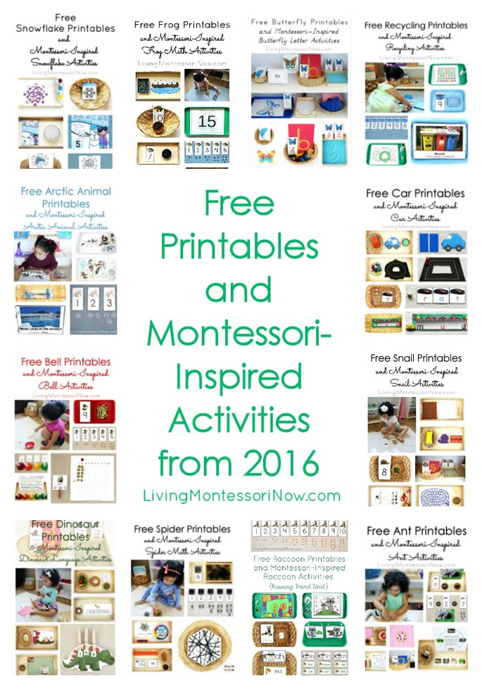Free Printables and Montessori-Inspired Activities from 2016