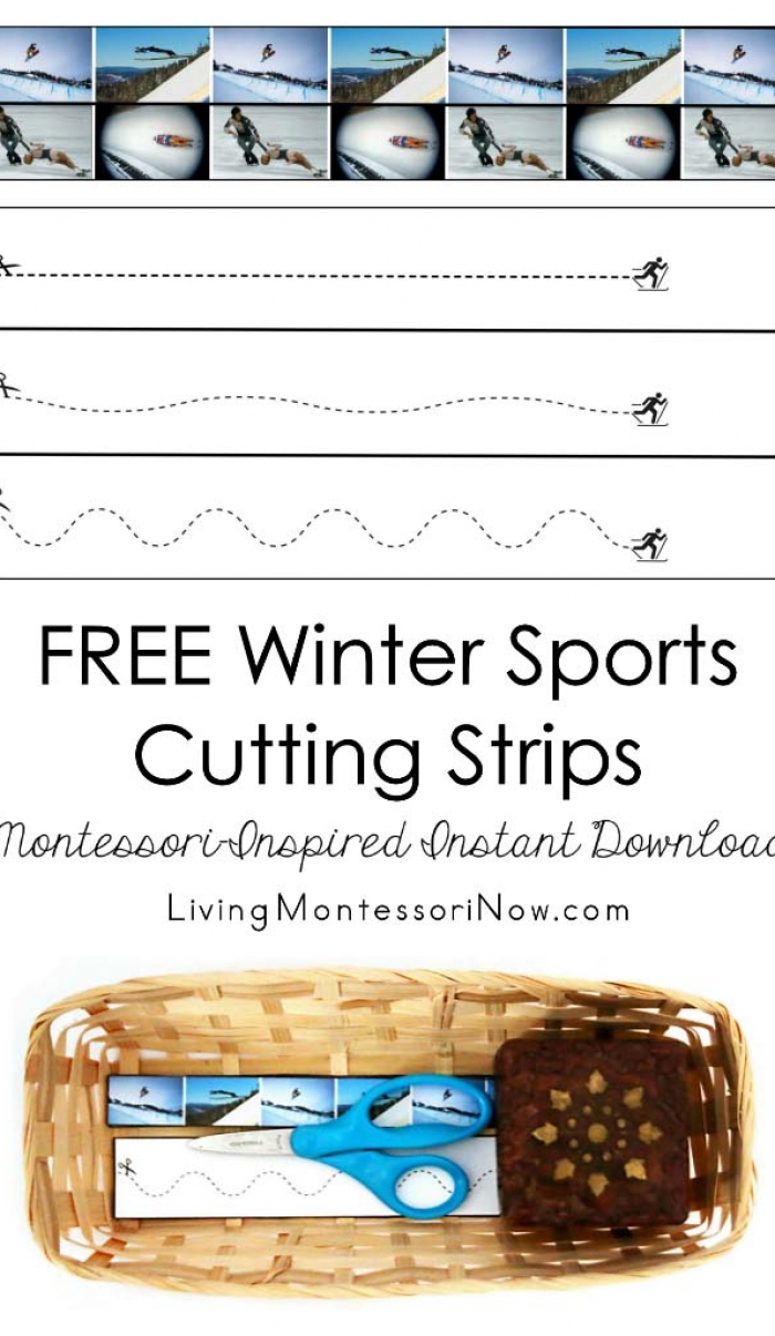 Free Winter Sports Cutting Strips (Montessori-Inspired Instant Download)