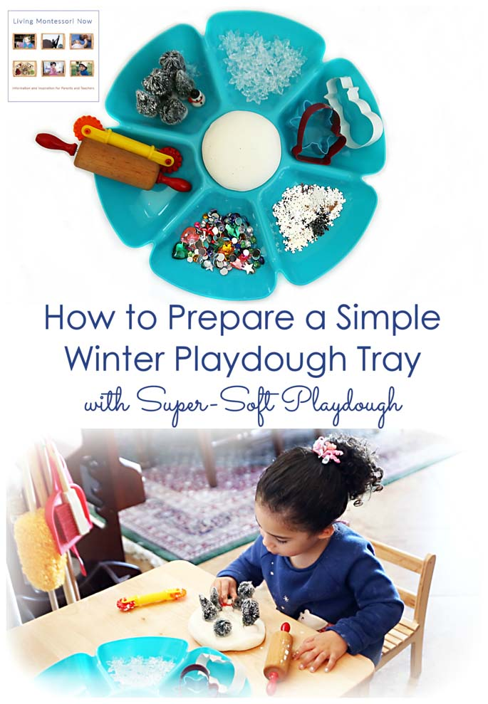 How to Prepare a Simple Winter Playdough Tray with Super-Soft Playdough {Montessori Monday}