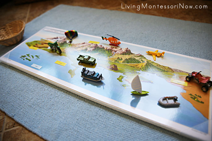 Land and Water Map from Pin It! Maps with Land, Air, and Water Transportation Figures