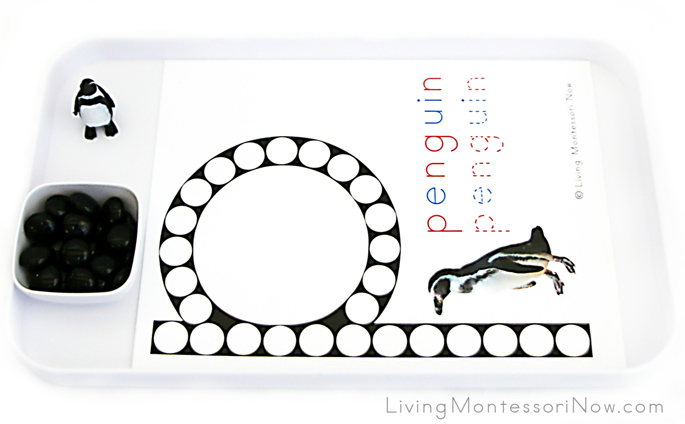 Penguin Letter P Do-a-Dot Printable and Glass Gem Transfer