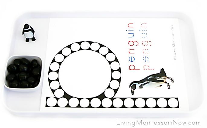 Penguin Letter P Do-a-Dot Printable and Glass Gem Transfer