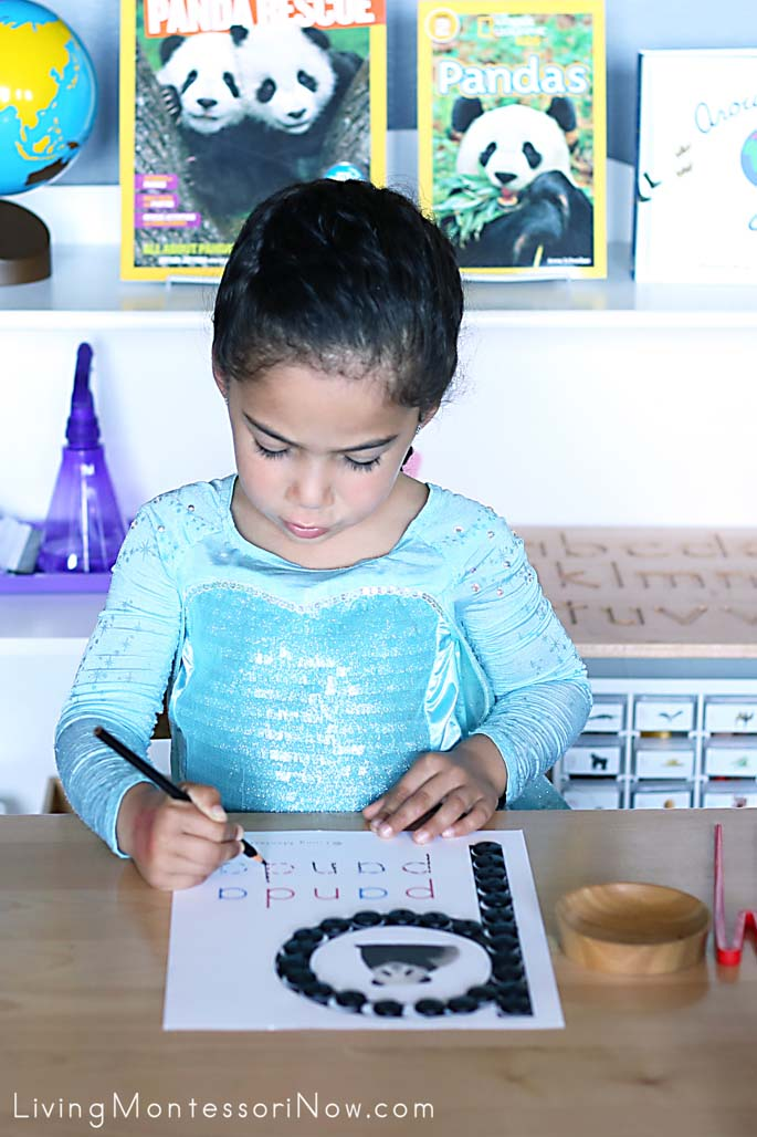 "Singing ""Let It Go"" While Tracing the Letters on the Panda Do-a-Dot Page"
