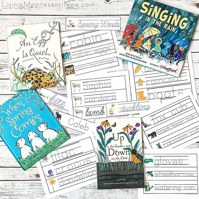 Spring Books and Some of the Printables from the Spring-Themed, Editable Name ad Word Tracing Pack