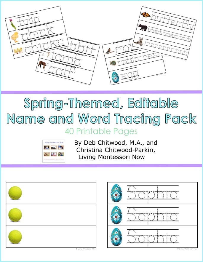 Spring-Themed, Editable Name and Word Tracing Pack