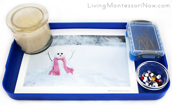 Montessori-Inspired Snowball Playdough Tray